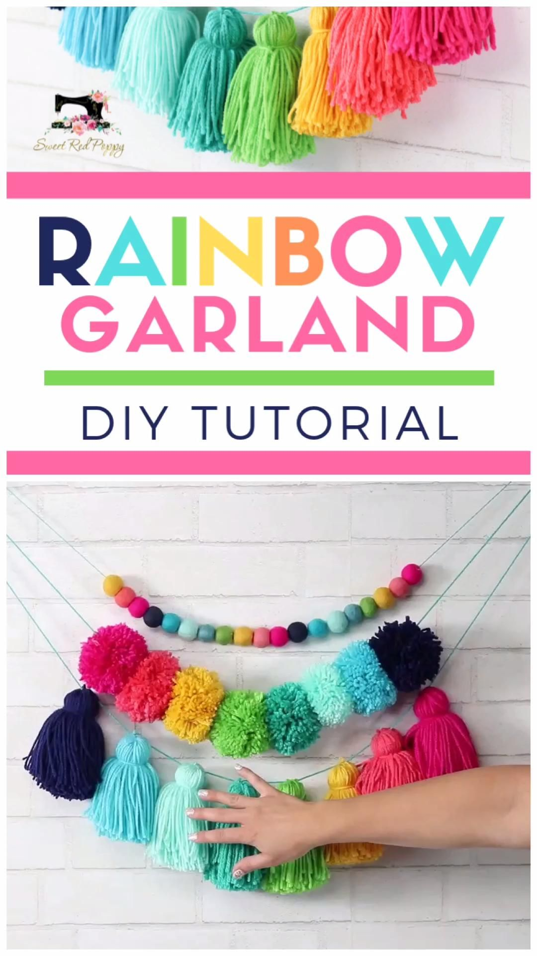 How To Make an Oversized Yarn Tassel Garland Rainbows make everything better and this adorable garland is sure to put a smile on your face every single time you see it!