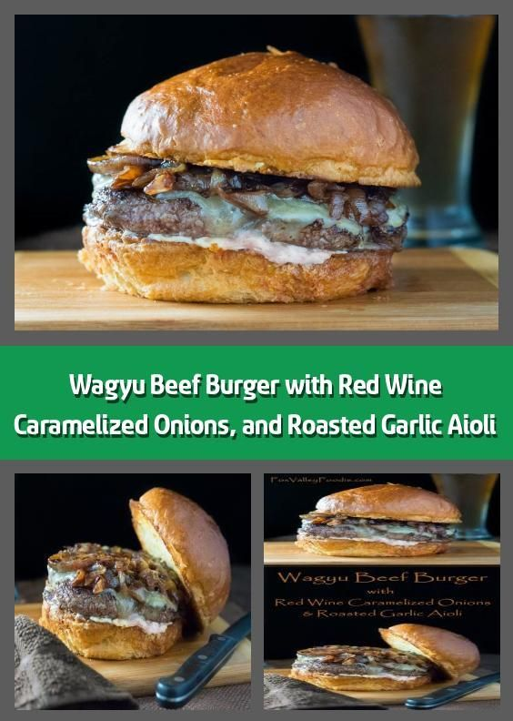 Wagyu Beef Burger with Red Wine Caramelized Onions, and Roasted Garlic Aioli -  ... -  Wagyu Beef Burger with Red Wine Caramelized Onions, and Roasted Garlic Aioli –    This Wagyu beef - #aioli #Beef #besthomemadeburgers #burger #burgersideas #burgersrecipes #caramelized #easyhomemadeburgers #garlic #healthyburgersrecipes #homemadeburgers #homemadeburgersbeef #homemadeburgerspatties #homemadeburgersrecipe #onions #red #roasted #wagyu #wine