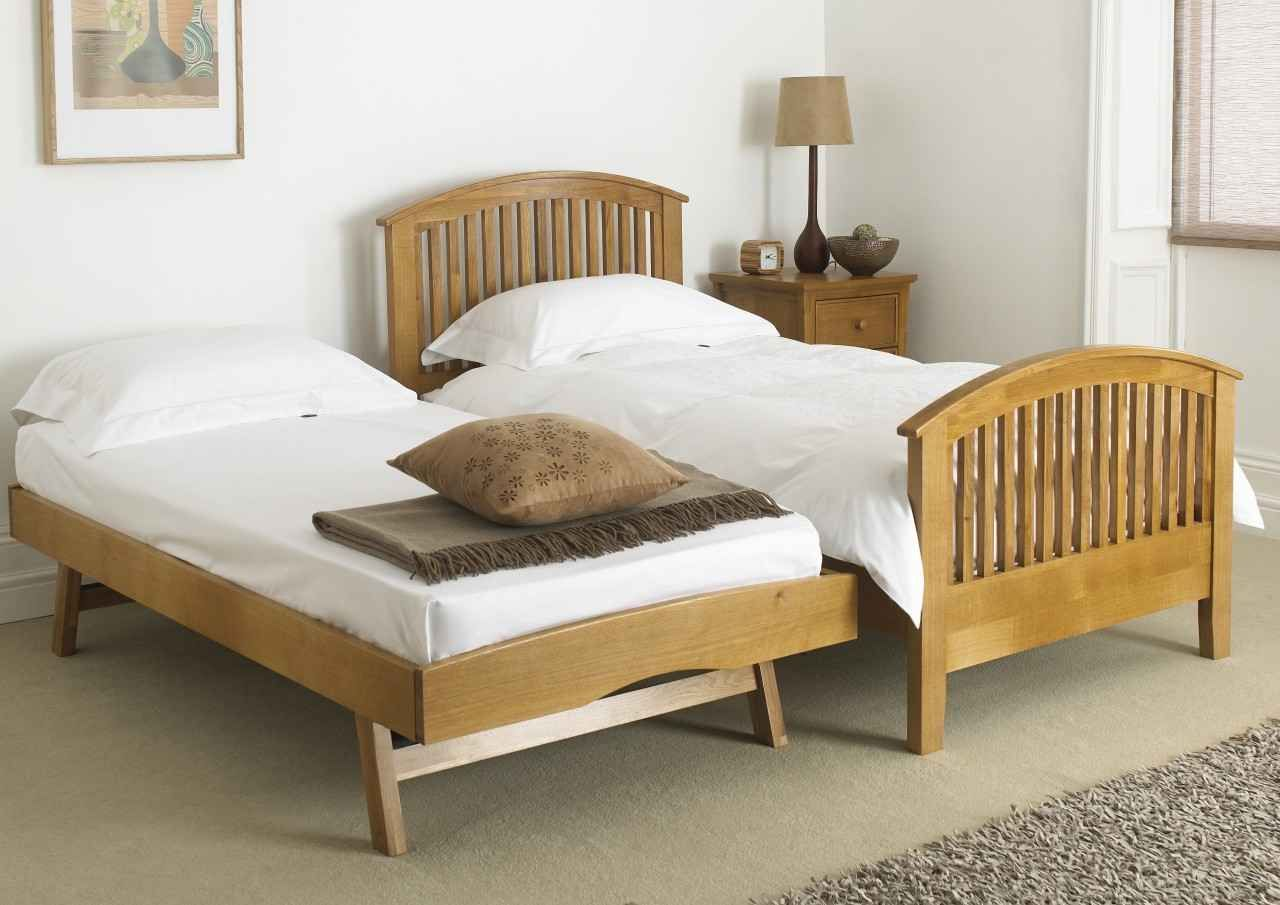 Mya Wooden Guest Single Bed Trundle Bed Presenting Clean Crisp