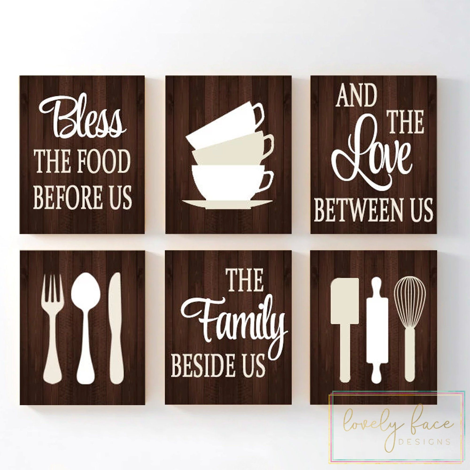 Kitchen Quote Wall Art Kitchen Prints Or Canvas Bless Food Etsy Kitchen Decor Wall Art Kitchen Canvas Art Wall Art Quotes
