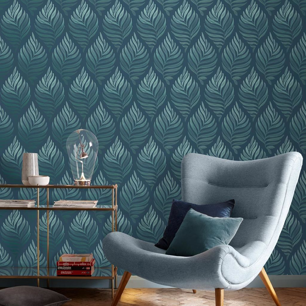 Botanica Wallpaper In 2020 Teal Wallpaper Wallpaper Living