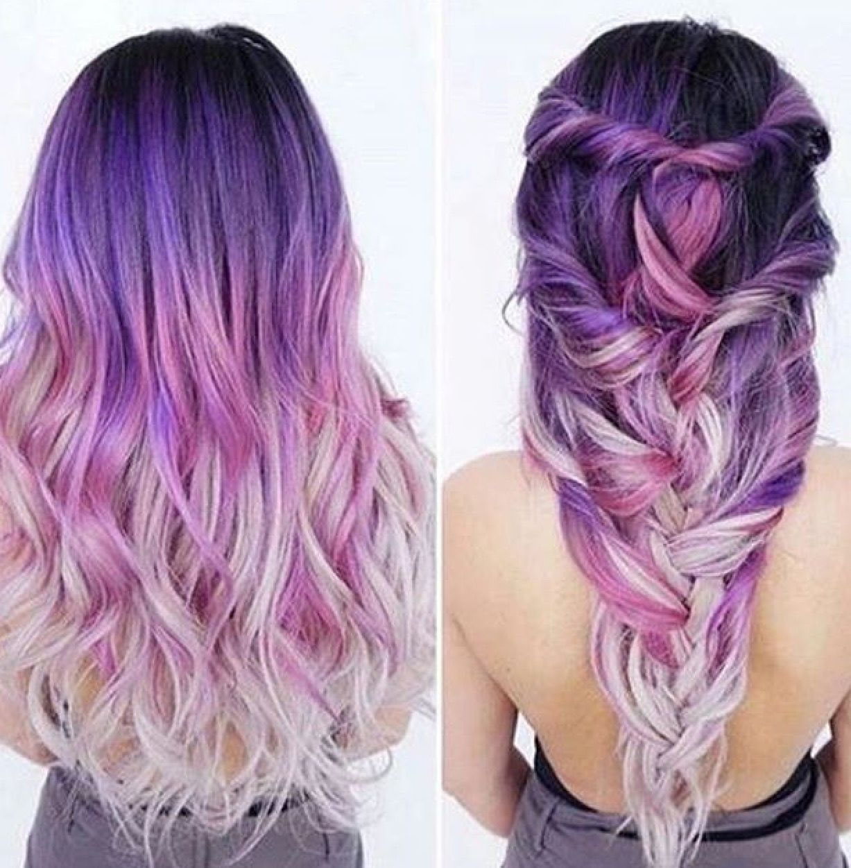 Purple ombre hair beauty fantasy unicorn purple violet red cherry