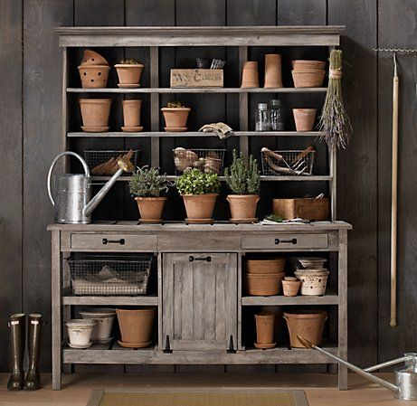 Restoration Hardware Garden Potting Bench. There Is No Back On It. The Wall  Behind