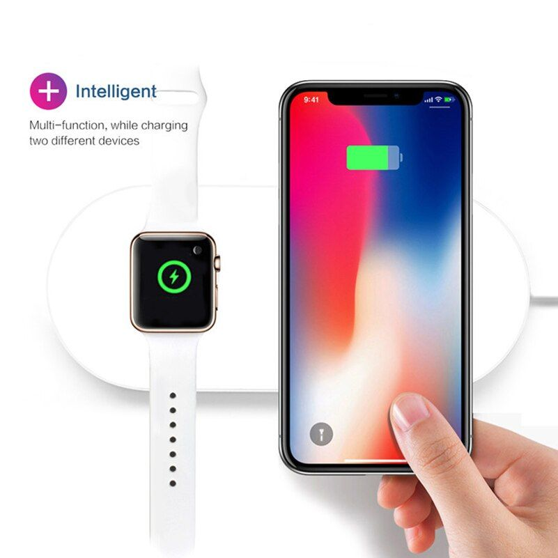 100 Hot Wireless Charger For Iphone X Xs 8 Fast Phone Charge For Samsang Galaxy S9 S8 Wireless Charging Pad For Apple Watch