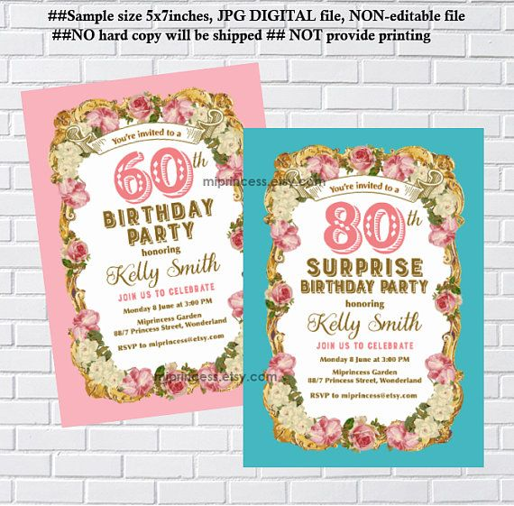 Vintage Birthday Woman Party Invitation Floral Frame Retro Invite Card 841