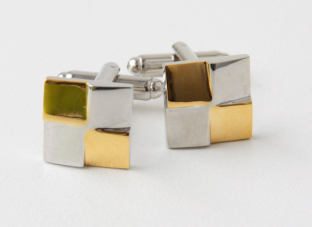 Groom\'s Cufflinks, Gold And Silver Color Square Stainless Steel ...