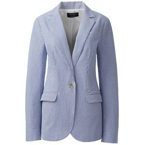 Lands' End Women's Petite Wear to Work Seersucker Blazer