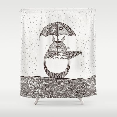 Happy Totoro Shower Curtain By Paula Belle Flores 68 00