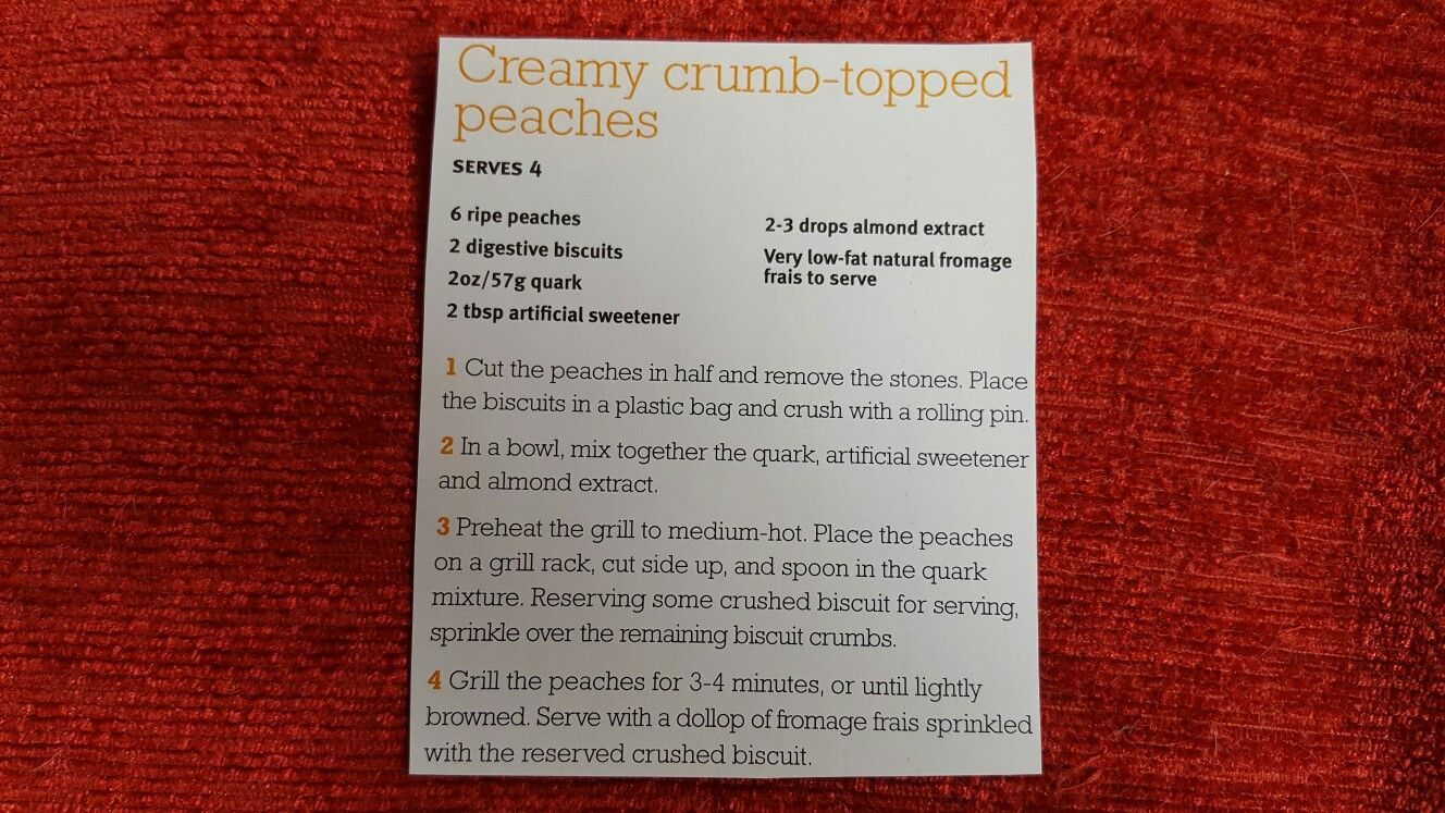 Slimming world creamy crumb topped peaches