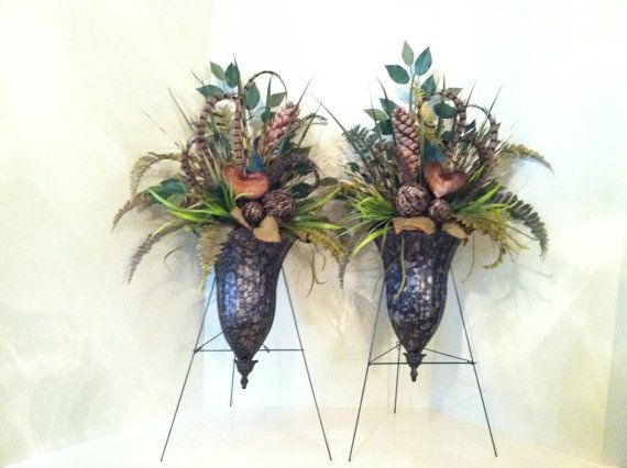 Pair of large wall sconce floral arrangements wall for Picture arrangements for large walls