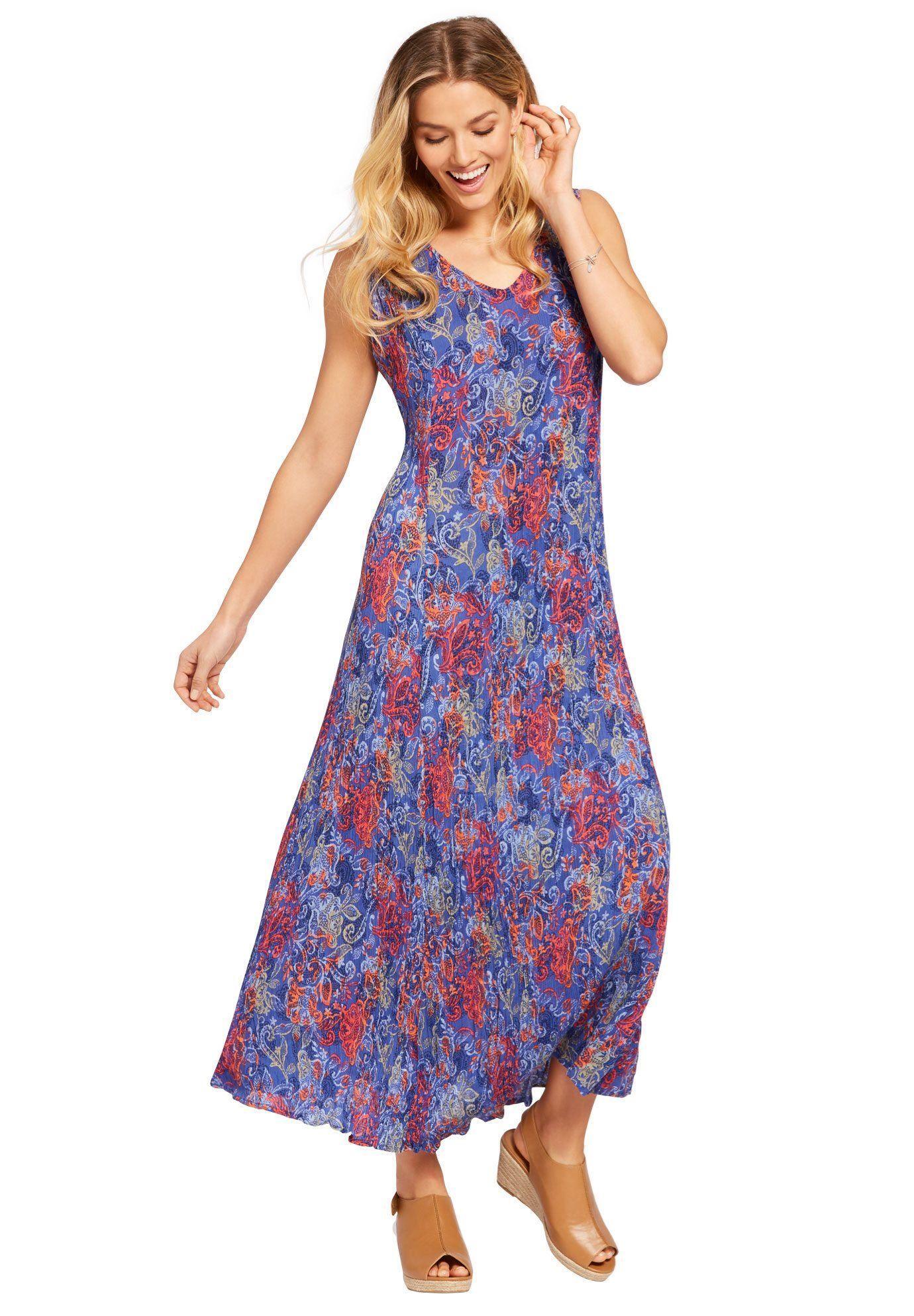 Petite Sleeveless Crinkle Dress - Women\'s Plus Size Clothing ...