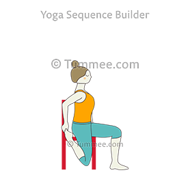 Yoga Poses For Ankles Quad Stretch Pose With Chair In 2020 Quad Stretch Yoga Poses Yoga
