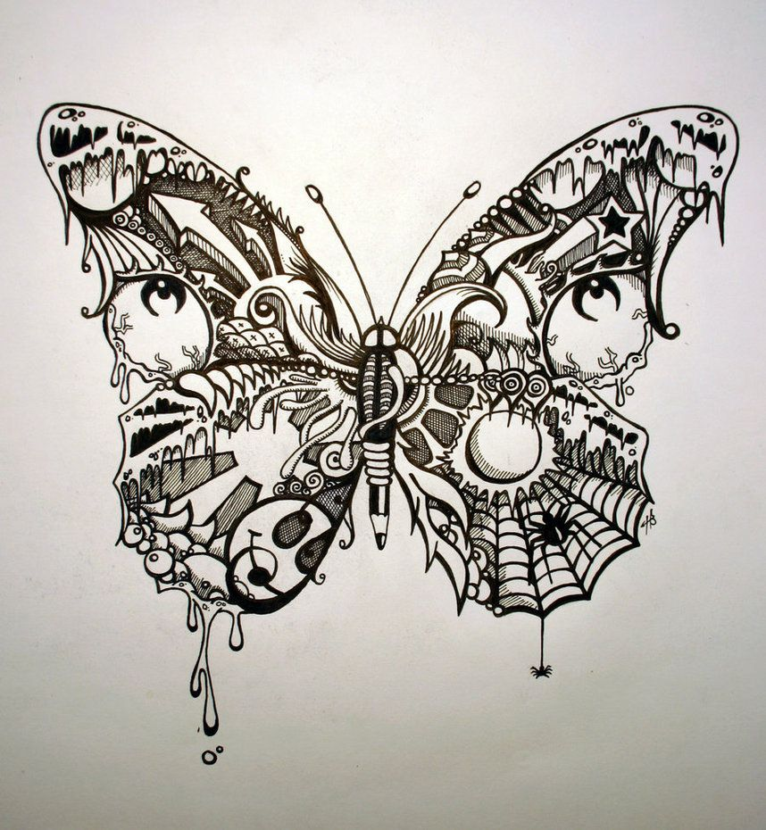 Psychedelic butterfly pretty butterfly by shotgun arse for Art drawing ideas for adults