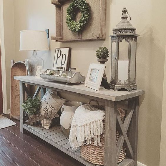farmhouse console table vignette with a storage shelf Joes