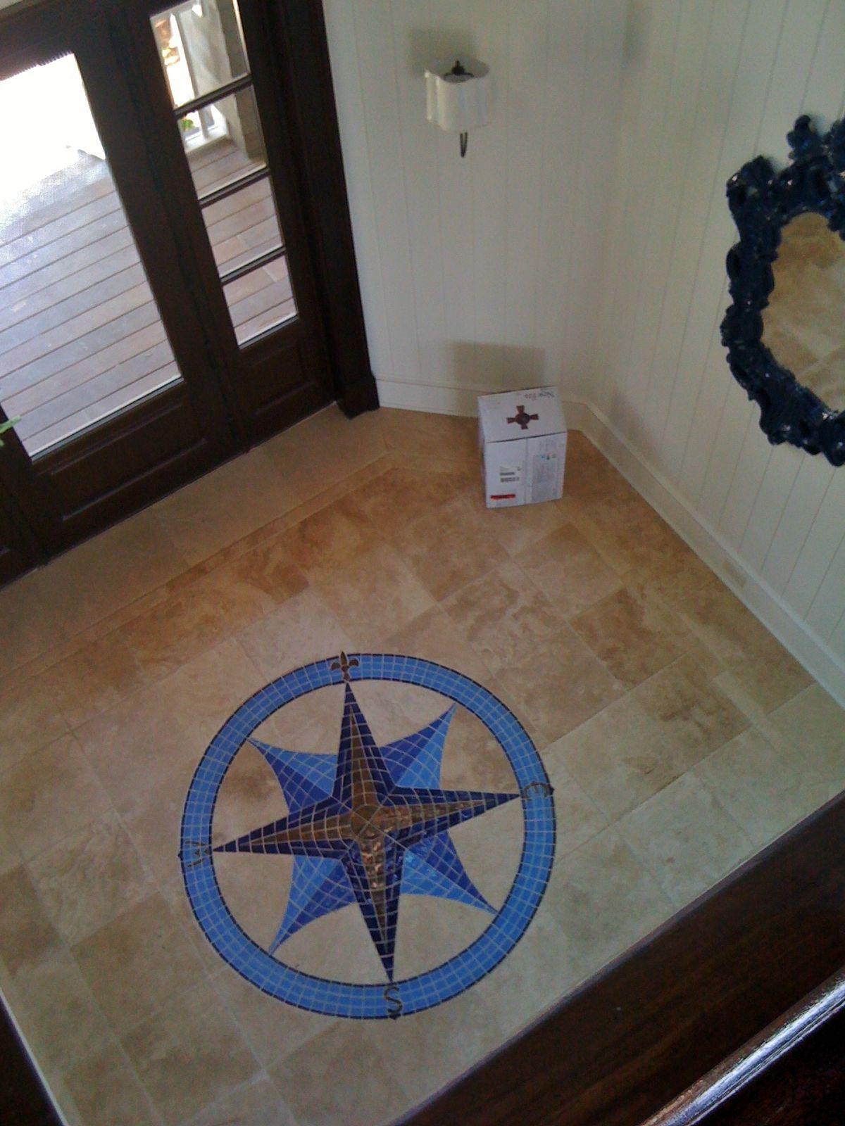 Foyer Tile Job : Tile compass at entry foyer travertine field