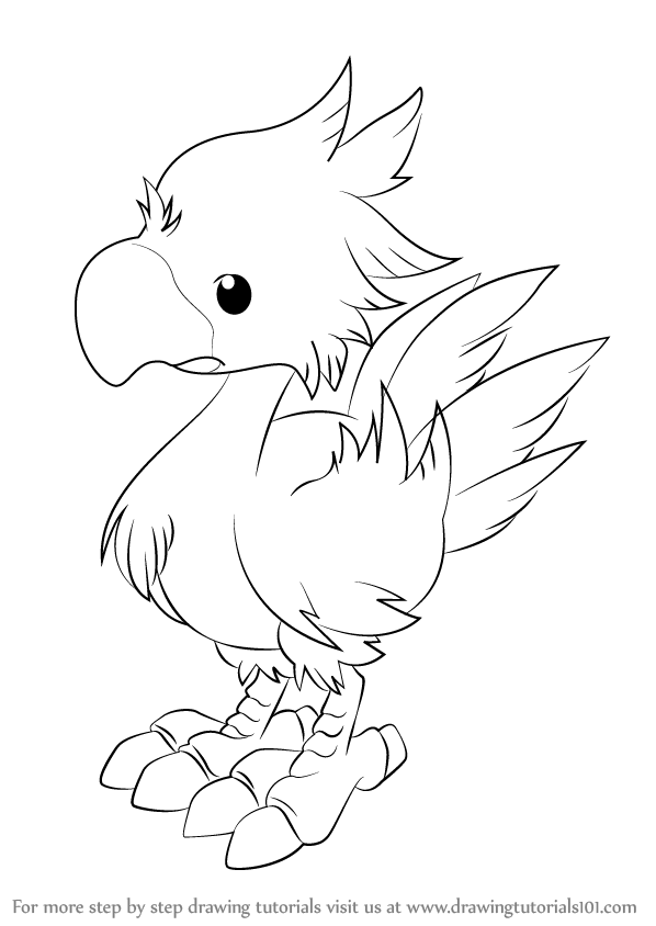 Chocobo Is The Animal Character From Final Fantasy In This Tutorial We Will Draw Chocobo From Final Fantasy Drawings Final Fantasy Cute Drawings
