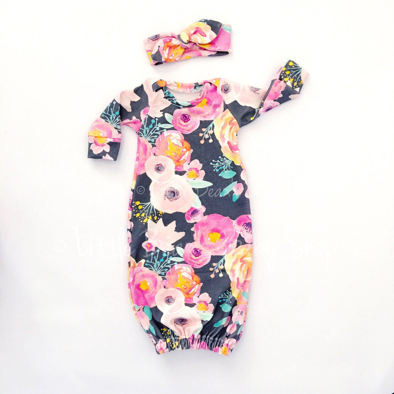 baby gown, baby girl, newborn girl gown, baby sleep gown, sleep sack ...
