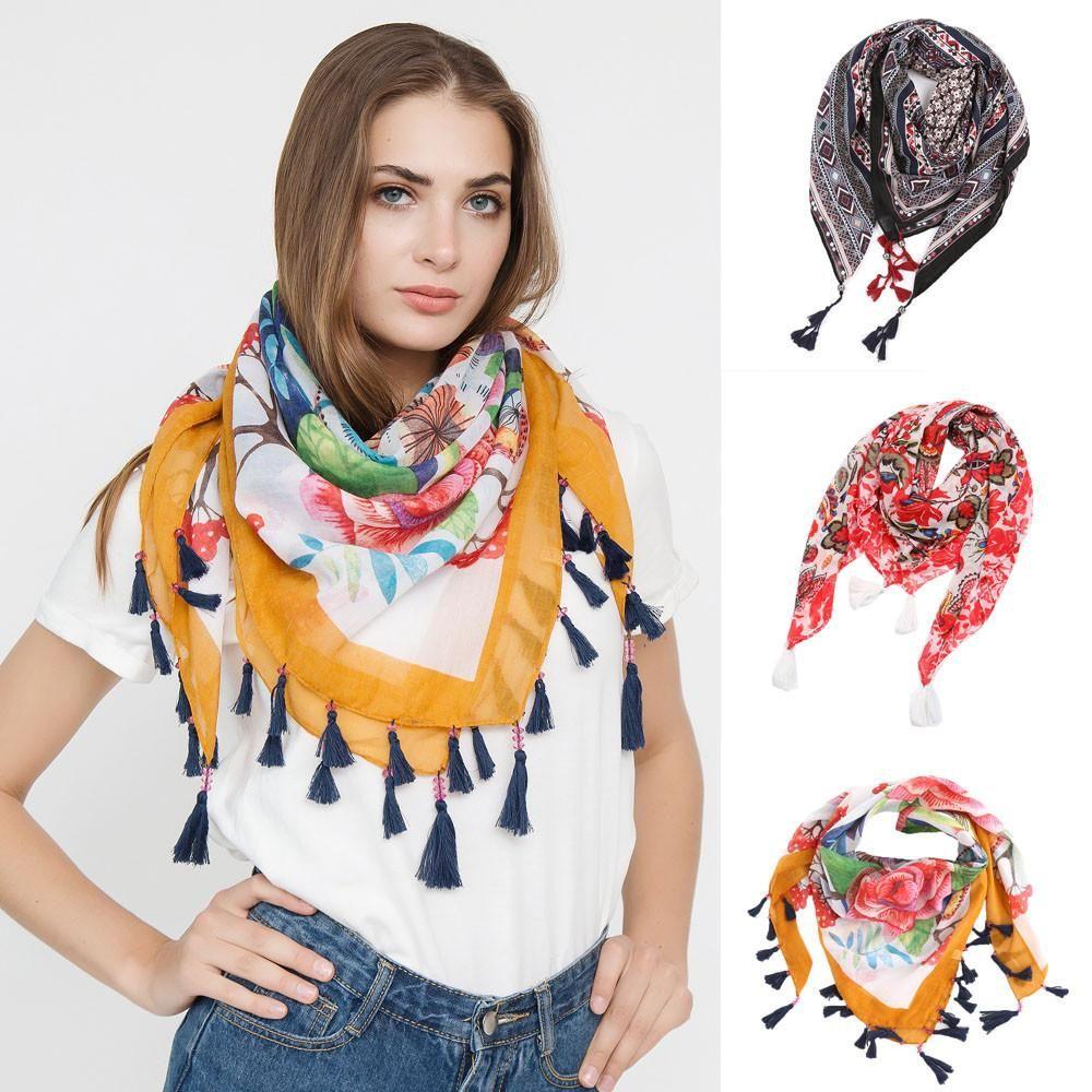 5ec7be45a Fashion Women Scarf Square Scarves Female Wraps Tassel Printed Girl Shawls  Scarf