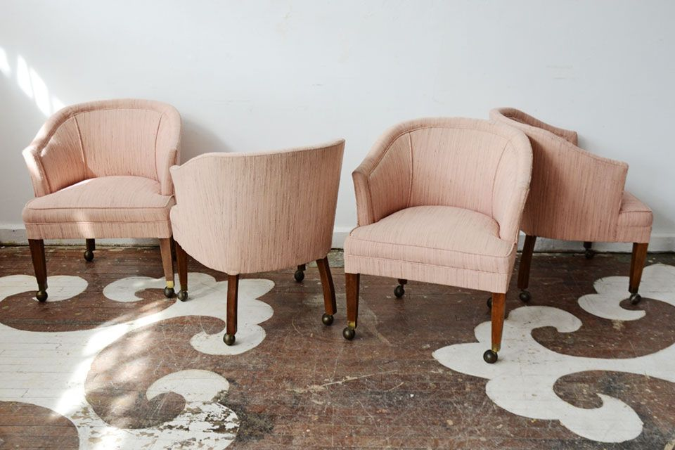 A Set Of Four Vintage Barrel Chairs On Casters They Would Be