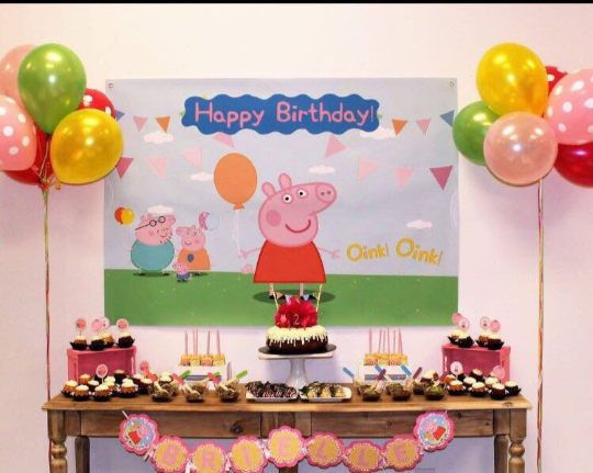 Peppa Pig Birthday Backdrop Banner