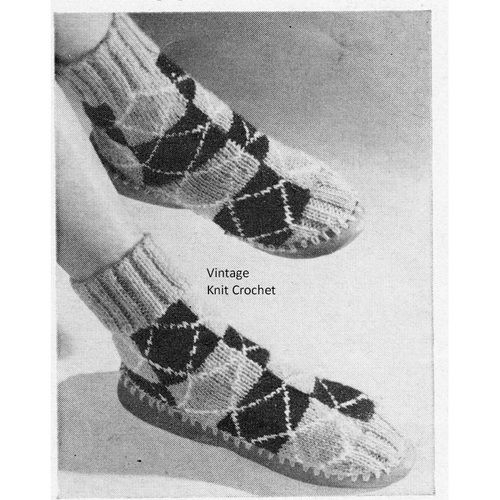 Checkerboard Knitted Slippers Leathered Sole Knit Socks And Patterns