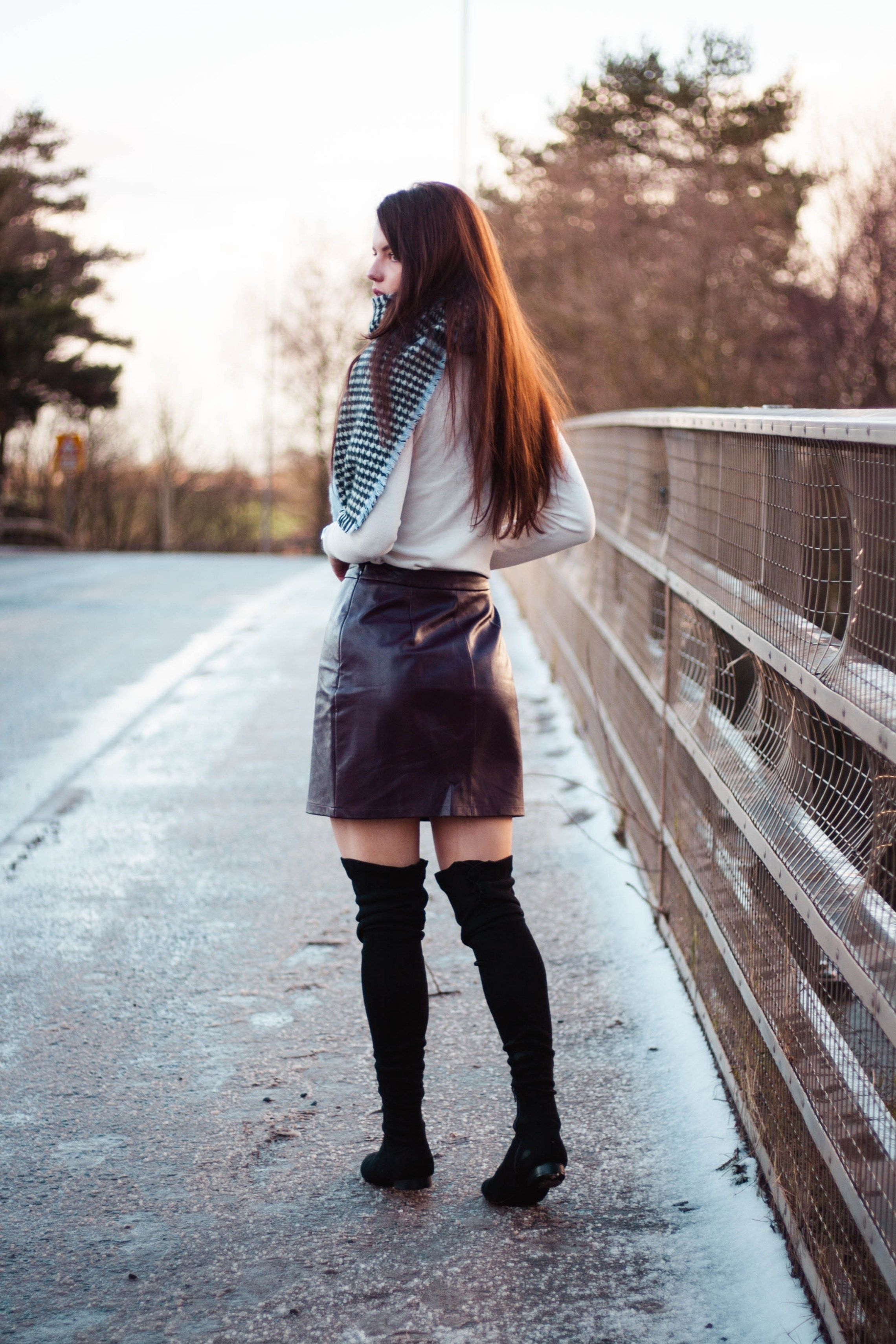 aefd5dc7b63b purple Matalan faux leather mini skirt with ASOS over knee boots ...