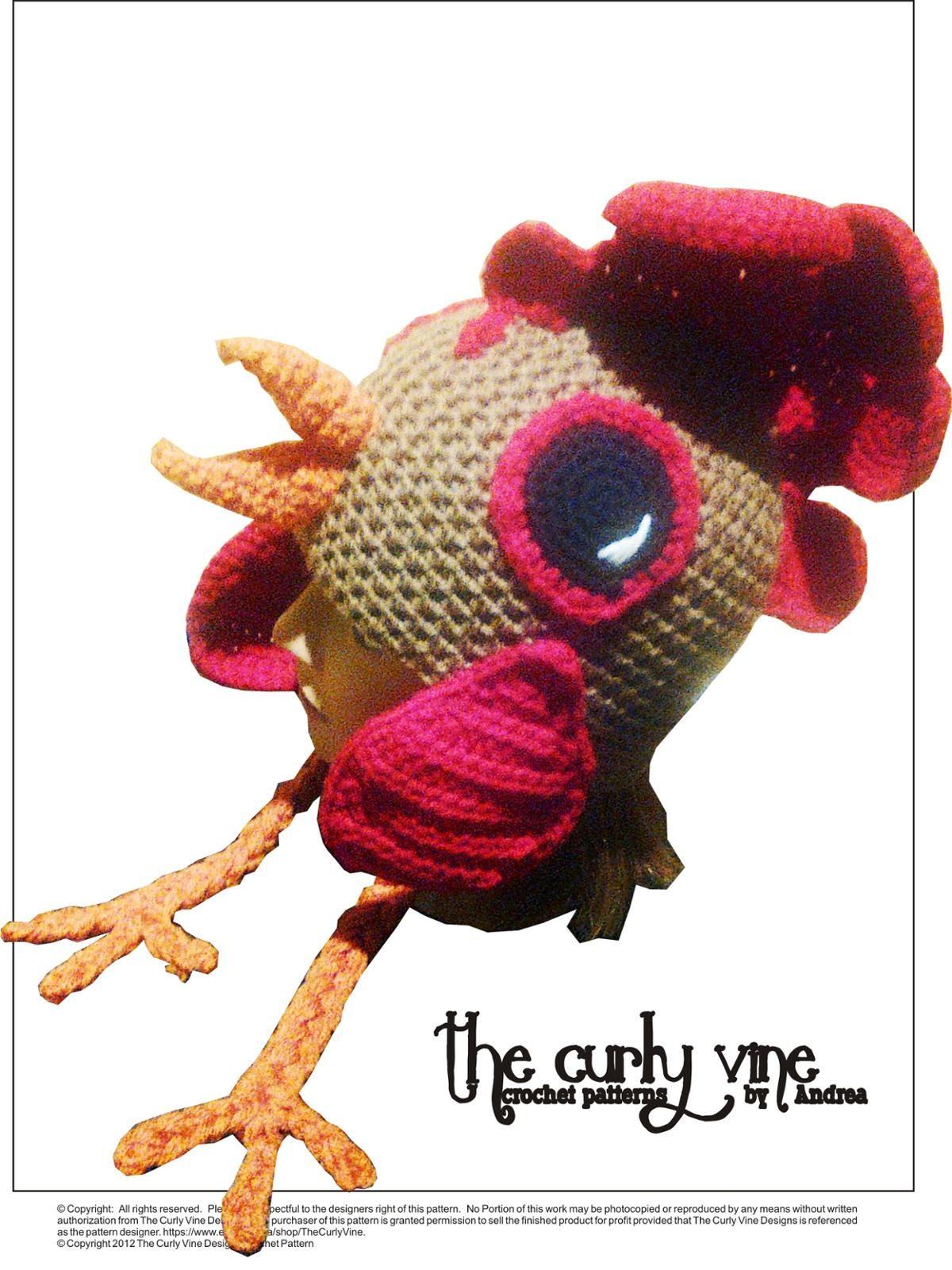 Crochet Rooster Hat Pattern Craftsy Crochet Fun Hats Pinterest