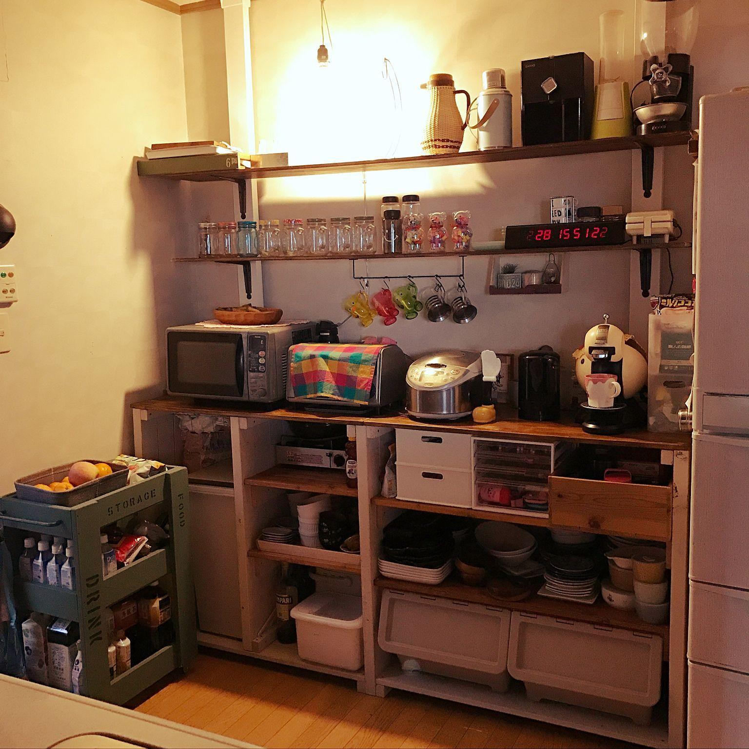 キッチン キッチンワゴンdiy ロー食器棚 ディアウォール棚のインテリア