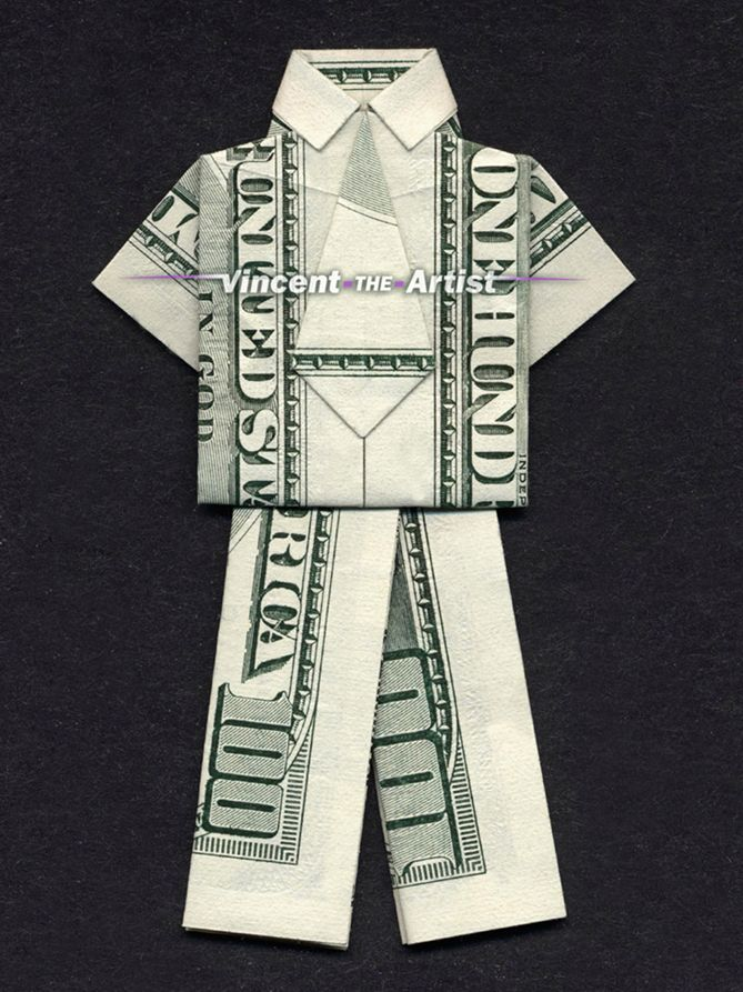 Money Origami Business Suit - Made with two $100 bill | origami ...