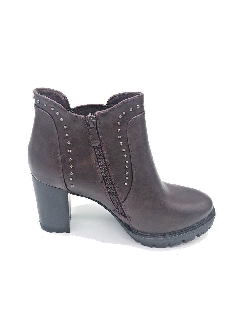 Scarpe Donna Stivale alla caviglia Stivaletto basso Tacco Alto 9 Borchie  Plateau cc31f90fdf5