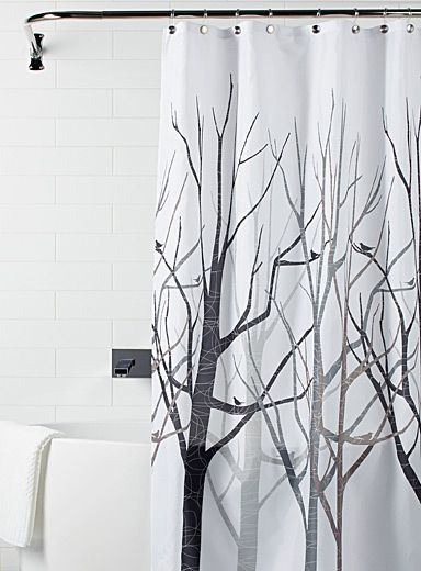 Modern Waterproof White Shower Curtain Tree Forest Design Decor W// Hooks