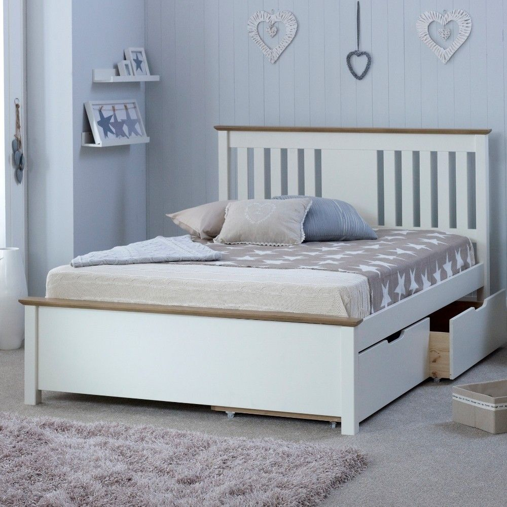 4ft6 Bed Frame Chester White And Oak Wooden Bed Frame With 4 Underbed Storage