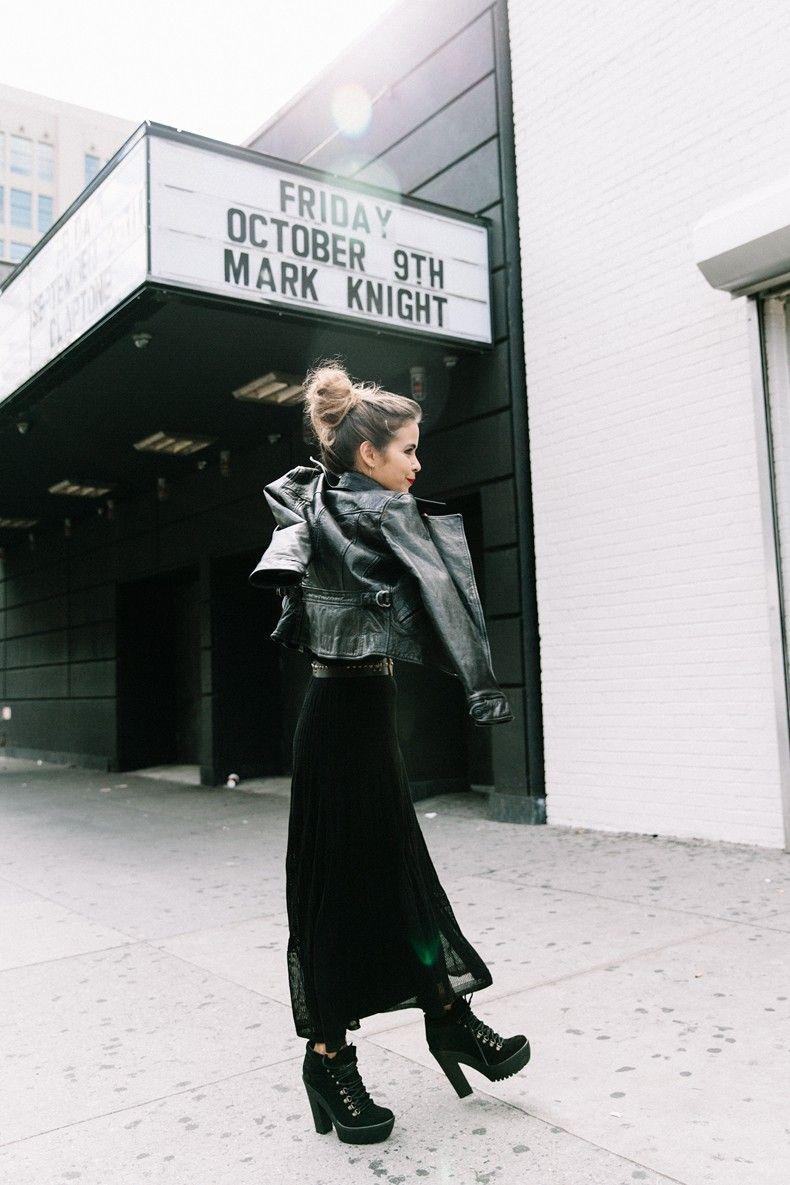 Polo_Ralph_Lauren-NYFW-New_York_Fashion_Week-Total_Black_Look-Mountain_Boots-Leather_Biker_Jacket-Topknot-Street_style-Brand_Ambassador