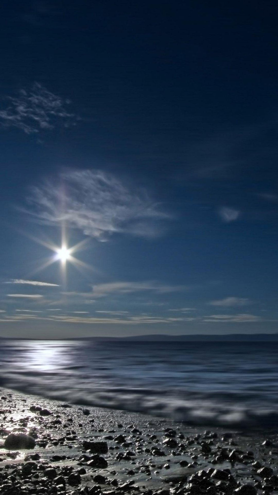 Wallpaper iphone moon - Shining Moon Over Sea Iphone 7 Wallpaper