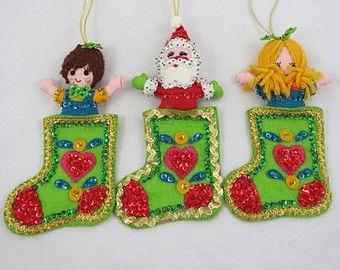 Vintage Bucilla Ornaments Stocking Ornaments 1970s Ornaments Felt Christmas Ornaments Free Shipping Felt Christmas Ornaments Felt Ornaments Felt Christmas
