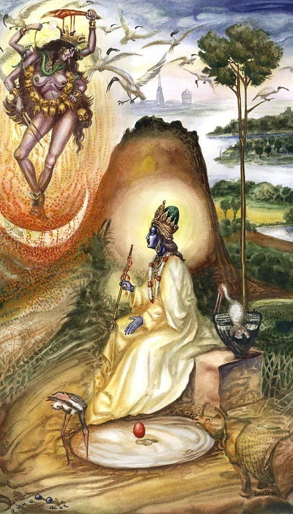 Anyone knows what this scene signifies? And who is the Divinity sitting?.