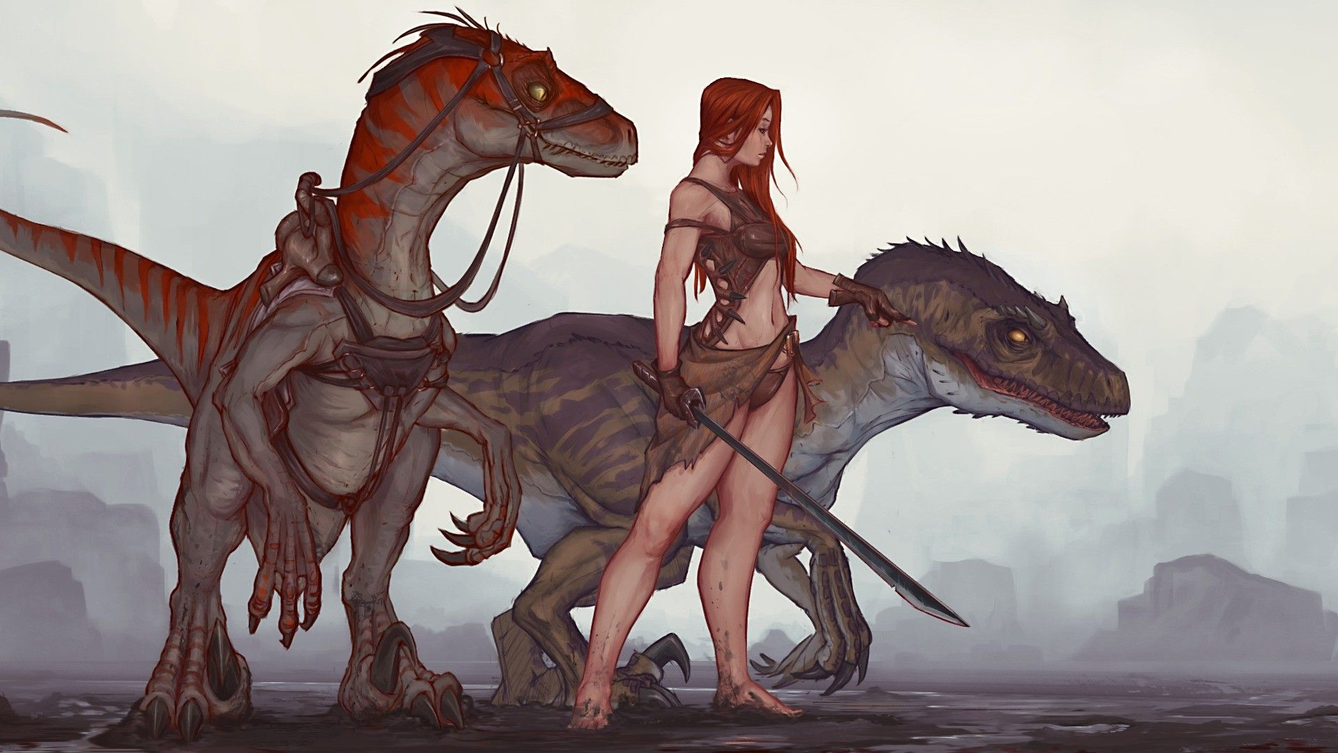 Woman with raptors (inspired by Ark: Survival Evolved)