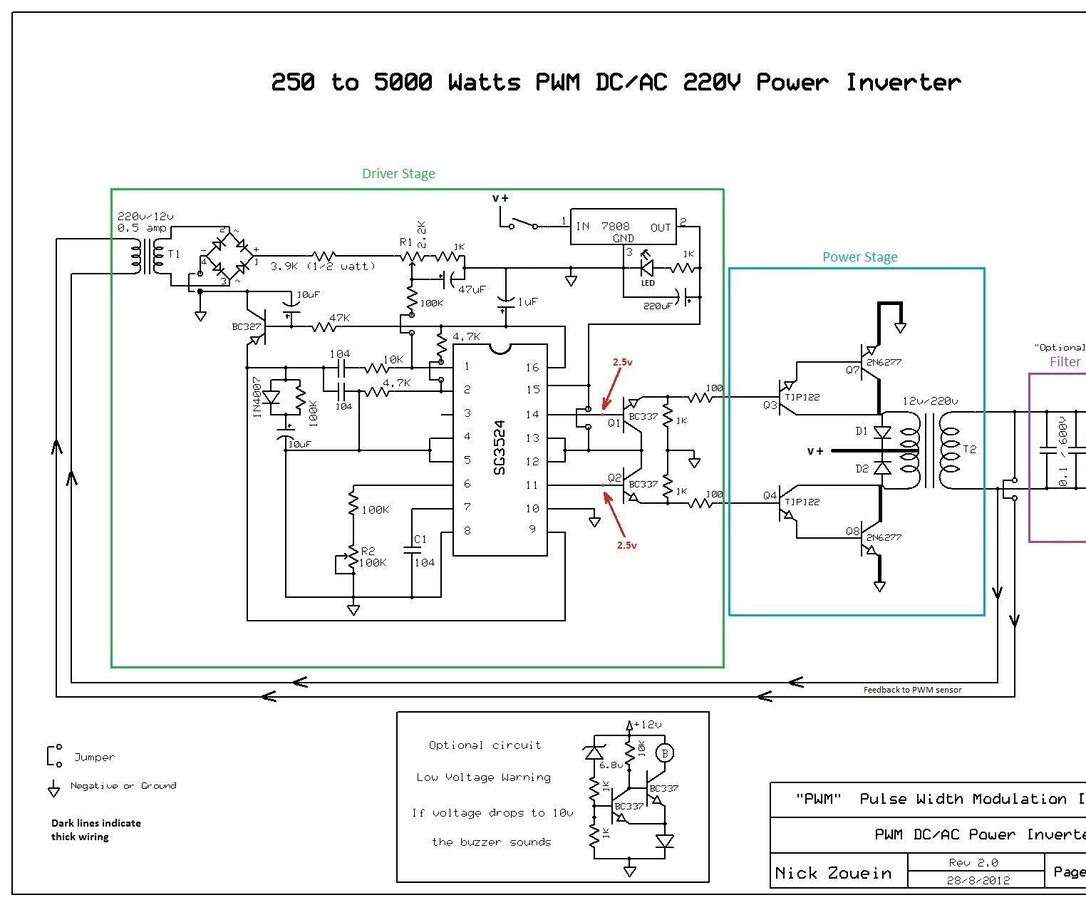 This is a heavy duty design of a Pulse Width Modulator DC/AC inverter using  the chip SG3524 . I've been using it as a backup to power up all my house  when ...