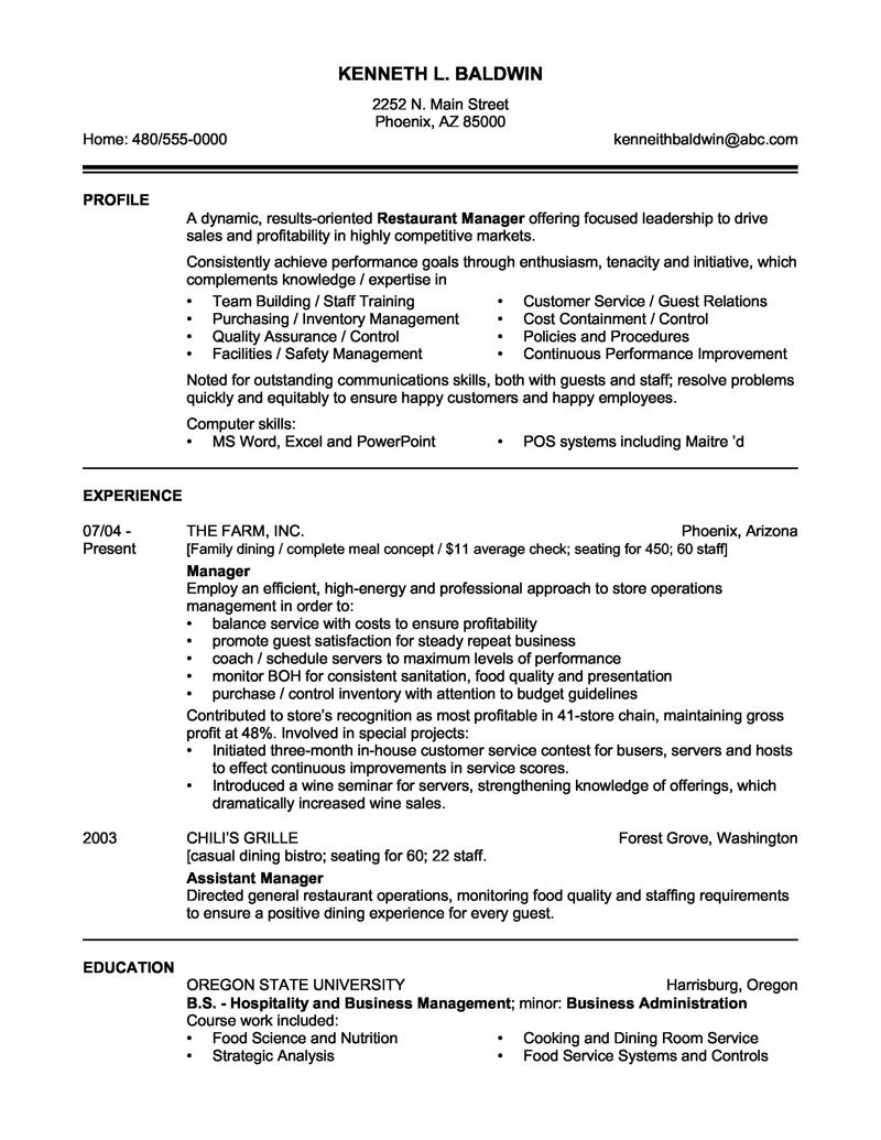 restaurant management resume