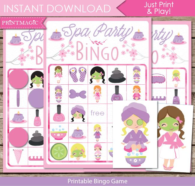 graphic relating to Spa Party Printable identify Spa Bingo Video game Birthday tips for ladies in just 2019 Spa