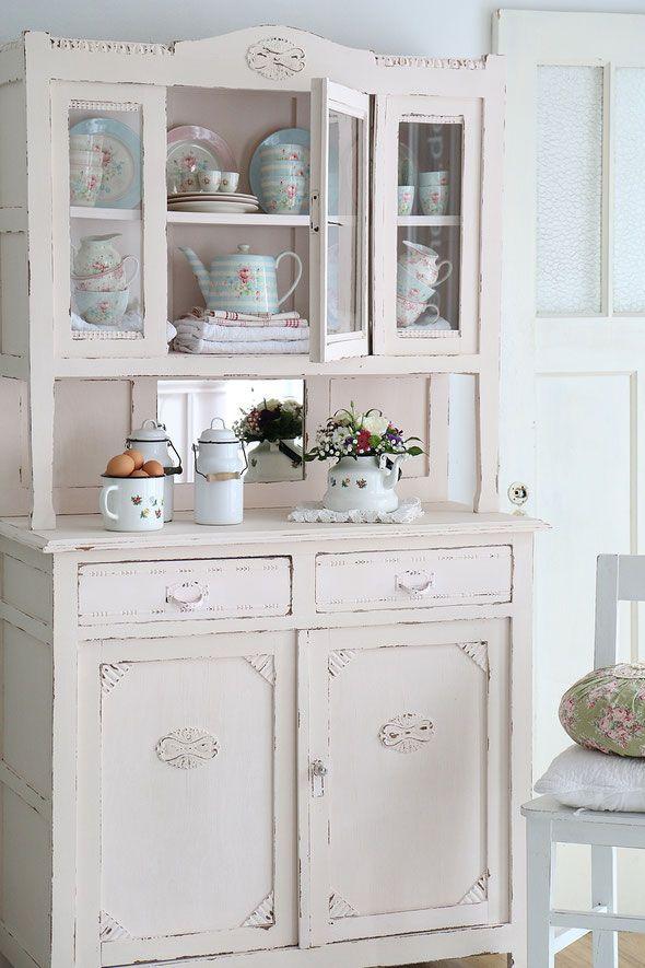 Buffet, antiker Küchenschrank, Gründerzeit Schrank, Küchenbuffet - küchenschrank mit glastüren