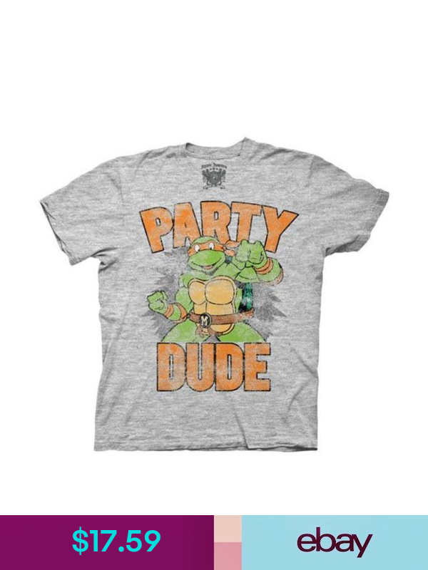 Adult Men/'s TMNT Teenage Mutant Ninja Turtles Party Dude Gray T-shirt Tee
