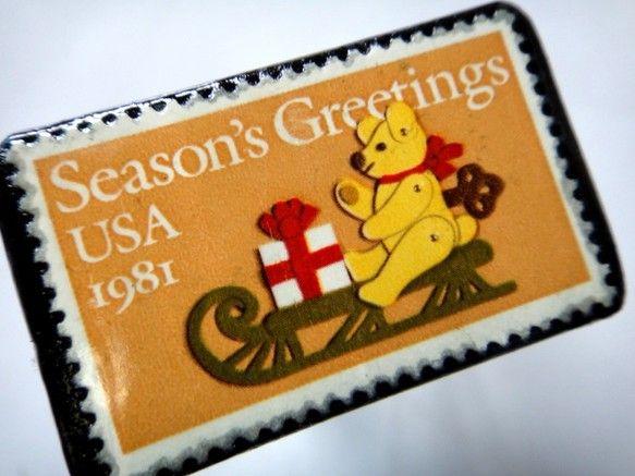 アメリカ1981年グリーティング切手ブローチ素材:少し前の未使用切手、革サイズ:42✕28mm (中型)重さ:約5g切手面は、剥がれないようコーティング注文に... ハンドメイド、手作り、手仕事品の通販・販売・購入ならCreema。