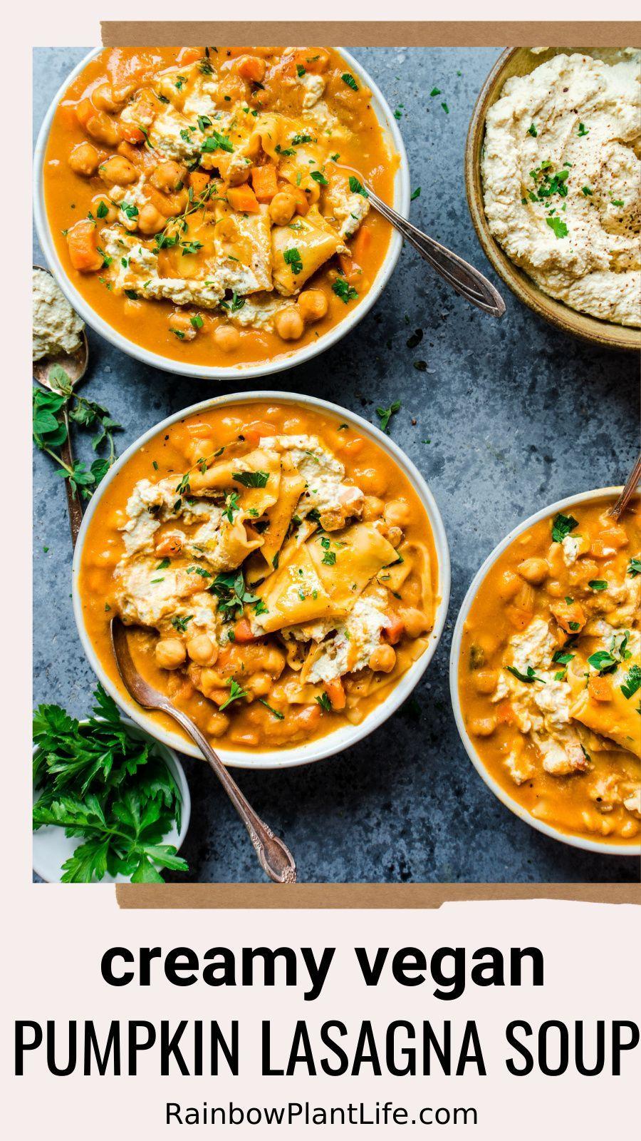 Vegan Instant Pot Pumpkin Lasagna Soup