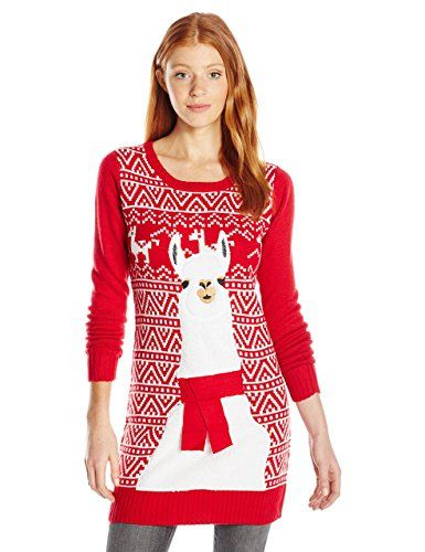 Llama Christmas Sweater.Blizzard Bay Juniors Llama Tunic Sweater Christmas Red L