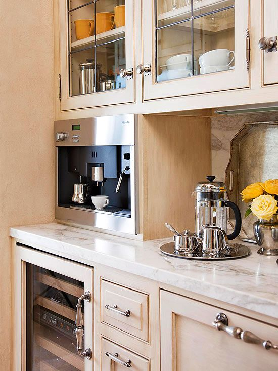 Internationally Inspired Dream Kitchen Wine Chiller Coffee Maker And Pantry