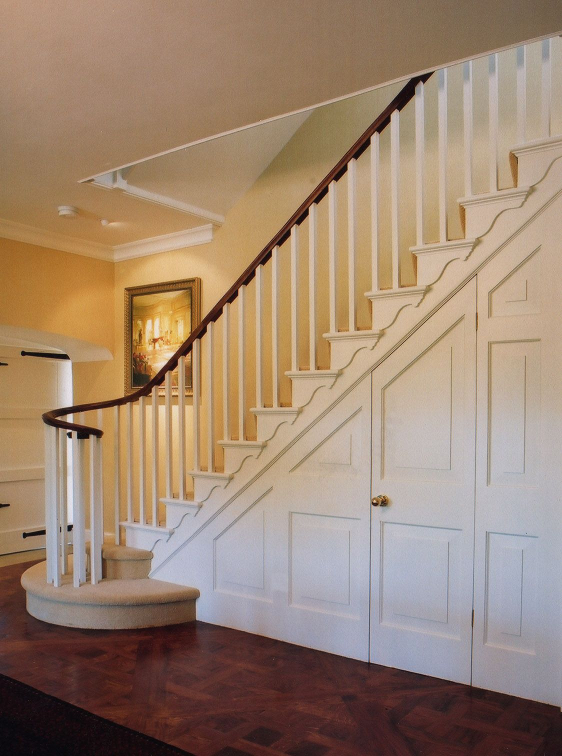 Best Classic Staircase With Painted Square Spindles Raised Fielded Paneled Spandrel Mahogany 400 x 300