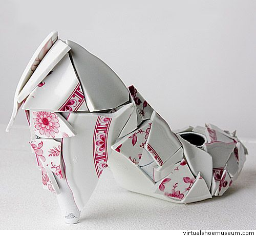 "Porcelain shoe  Marieka Ratsma    ""These porcelain shoes are part of a collection (2010) which questions the pursuit of perfection by designers. In this collection, imperfection and mishaps are deliberately applied to get the viewer thinking about what is perfect or imperfect."""