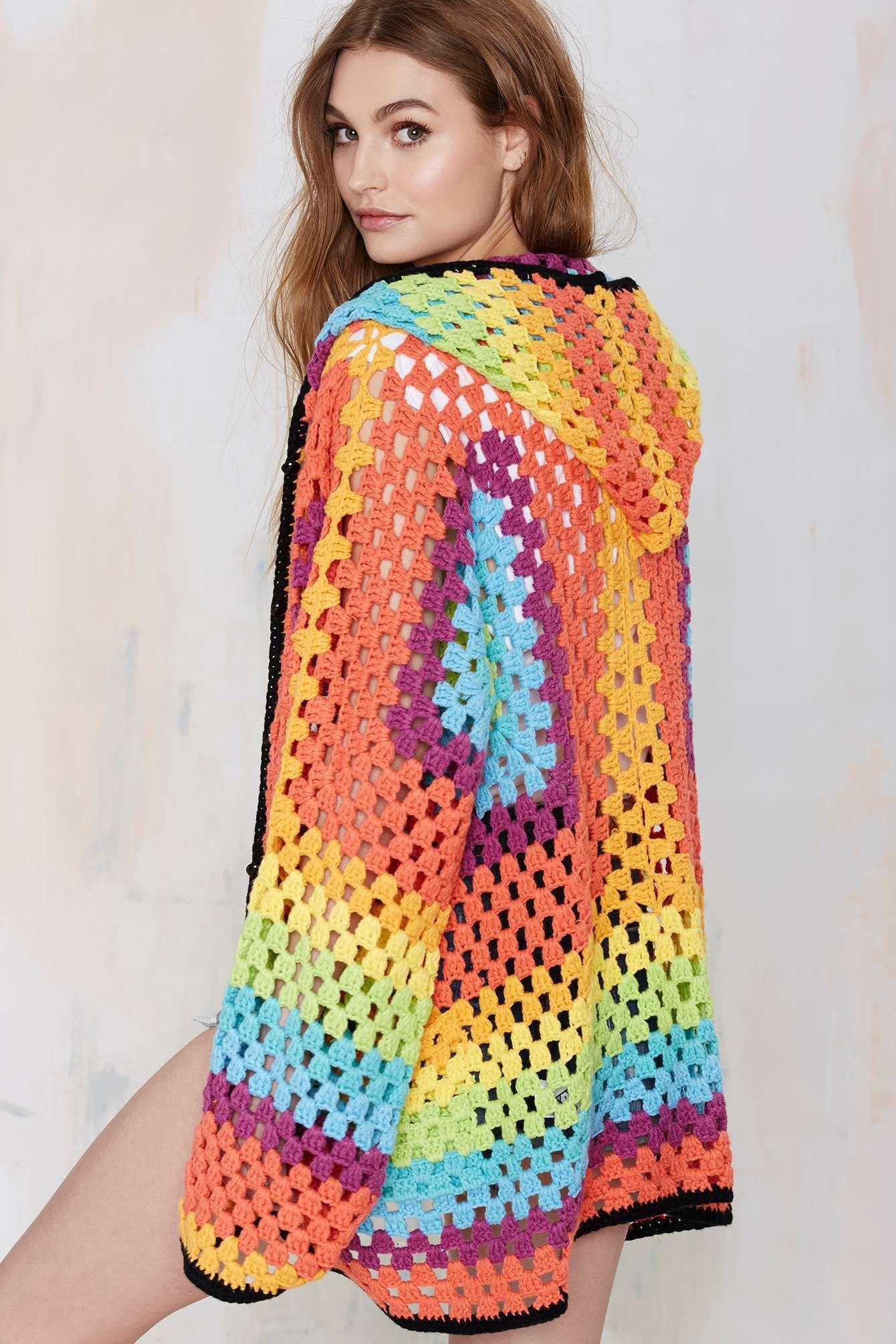 INSPIRATION**** UNIF Meda Hooded Crochet Cardigan | Shop Clothes ...