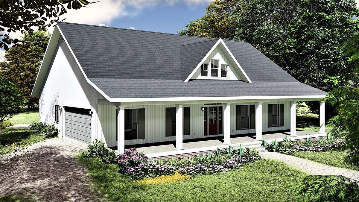 Photo of Southern Style House Plan 77407 with 3 Bed , 2 Bath , 2 Car Garage